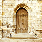 Brown Wooden Door Stone Wall Photography Backdrops  J03182