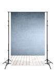 Blue Wall Wooden Floor Photo Booth Backdrop
