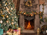 Christmas Tree Gifts Fireplace Photo Booth Backdrops KAT-31