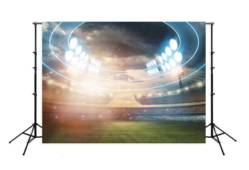 Football Field Lights Green Grass Photography Backdrop M027