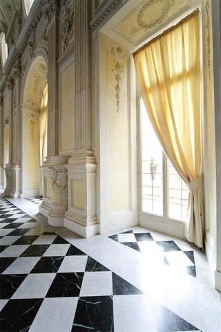 Royal Palace Interior yellow Curtain Window Photography Backdrop MA-1