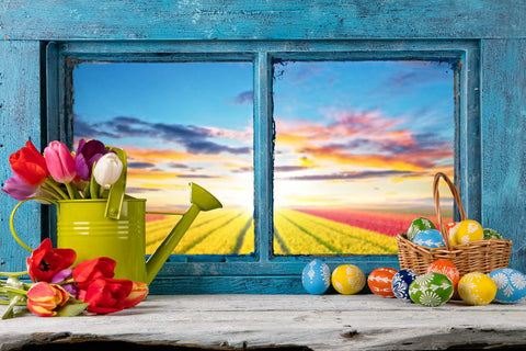 Easter Eggs Window  Spring Flowers Backdrops for Studio MR-2226