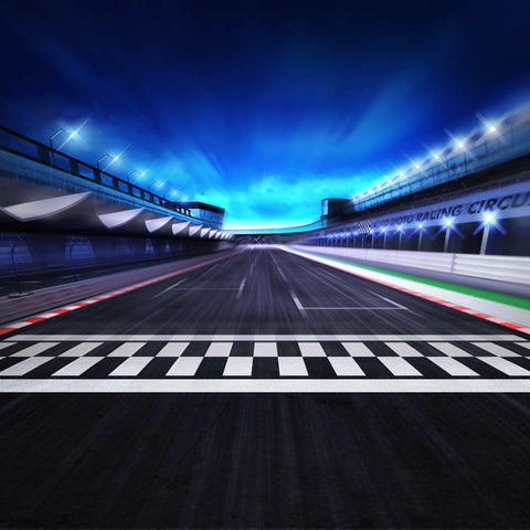 Race Track Finish Line  Night Scene 3D Racing Competition Photo Backdrop MR-2262