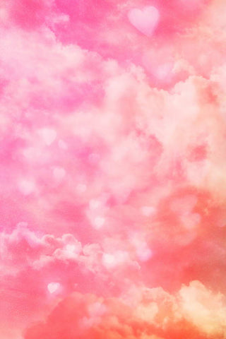 Pink Clouds Love Hearts Backdrop for Photography MR-2277