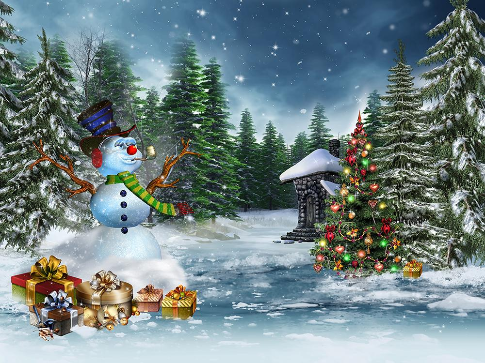 Snowman Forest Christmas Photo Backdrops DBD-H19171