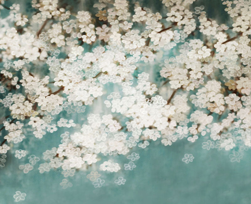 Lake Blue Background Sakura Backdrop Floral for Photography NB-026
