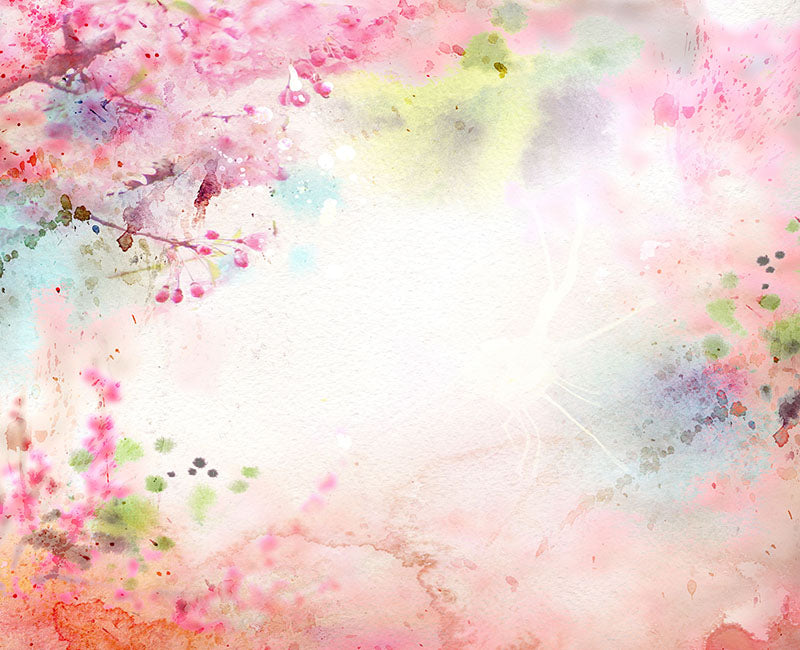 Dreamlike Watercolor Branches with Flowers Light Spot Backdrop NB-035