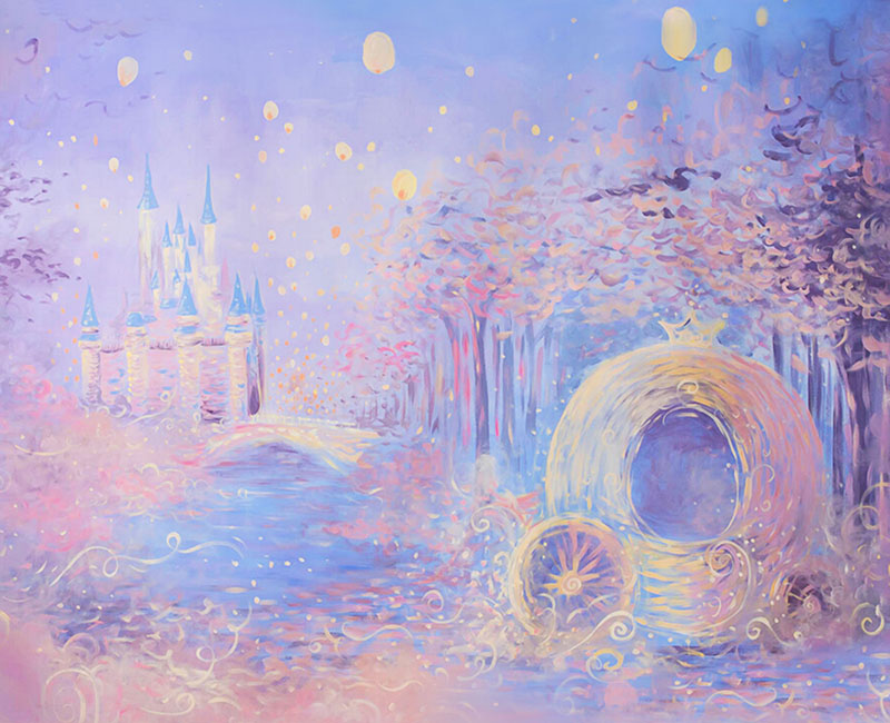 Dream Castle and Pumpkin Carriage Oil Painting Purple Photography Backdrop NB-067