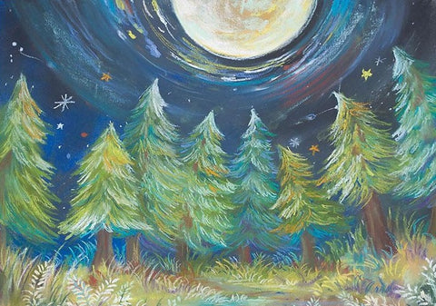 Oil Paint Christmas Tree Forest Under the Night Sky Children Photo Studio Backdrop NB-093