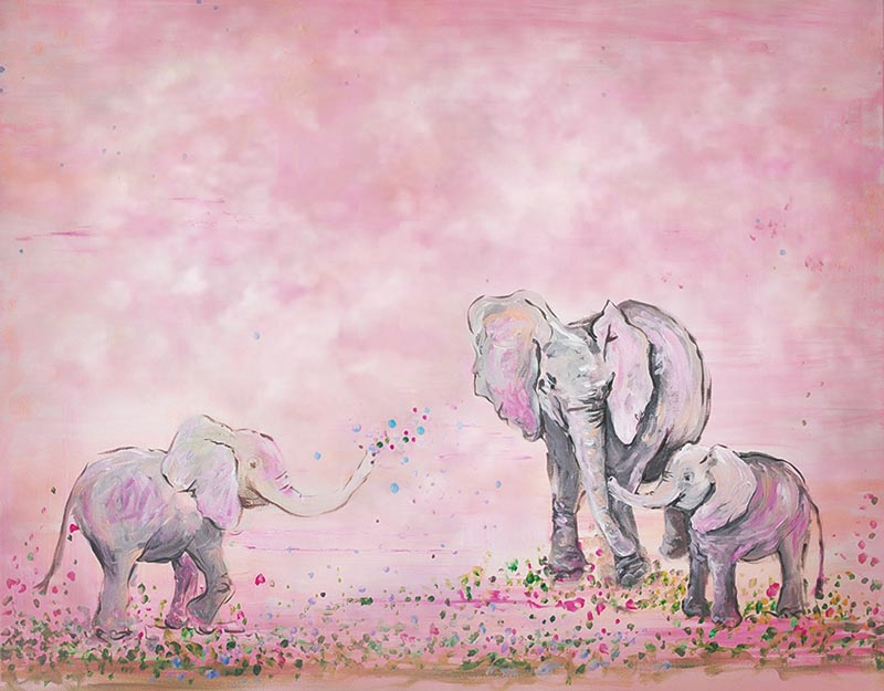 Pink Background Elephant Family Photography Backdrop for Children NB-181
