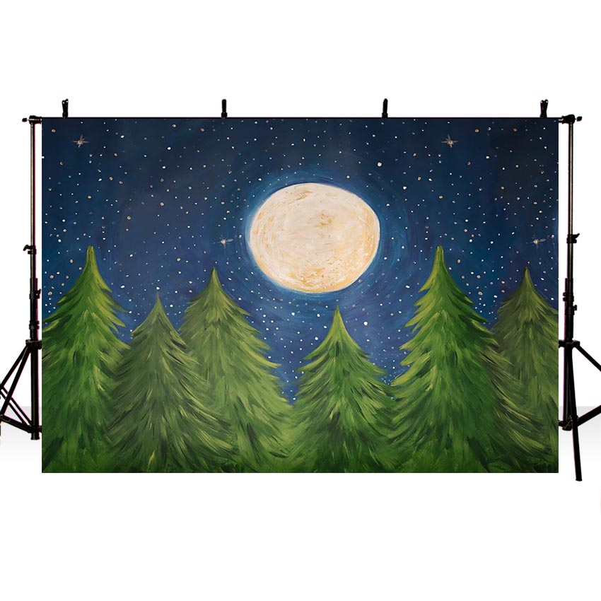 Painting Christmas Tree Moon Stars Night Backdrops for Children Photography NB-185