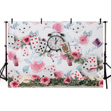 Floral Playing Card  Photo Studio Backdrop for Children NB-187