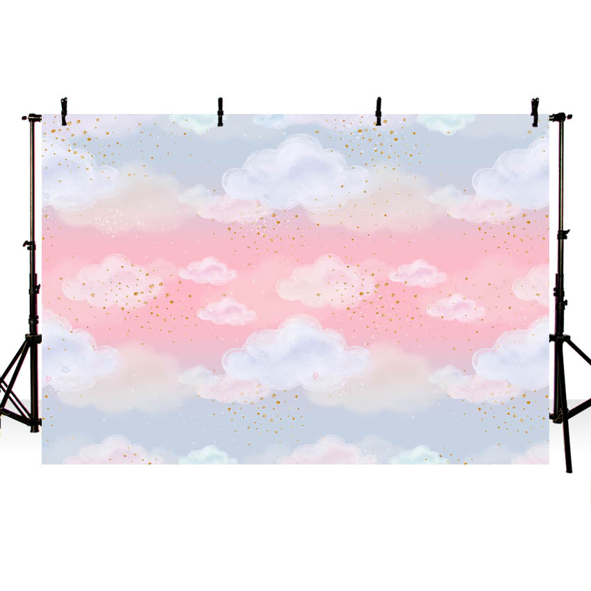 Lovely Pink Sky Clouds Backdrop for Photography NB-348