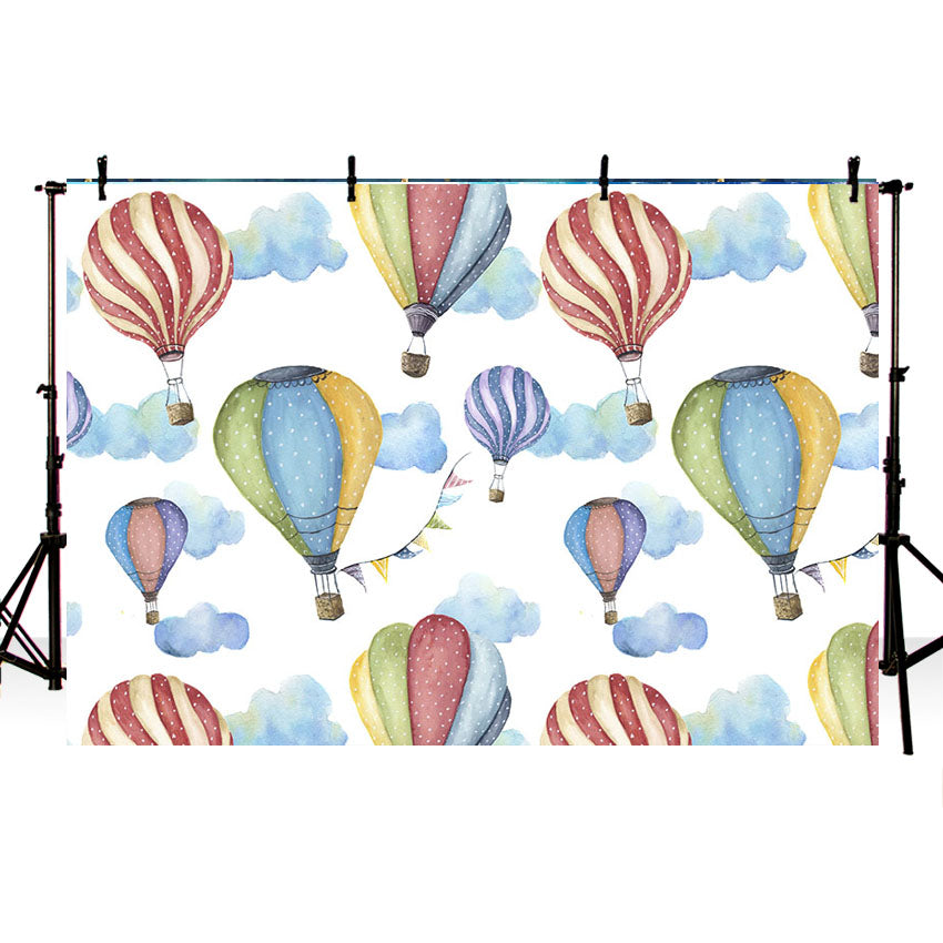 Colorful Hot Air Balloon and Blue Clouds Background for Baby Photography NB-404