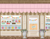 Cartoon Sweet Cake Shop Beautiful Photography Backdrop for Baby Girl NB-459