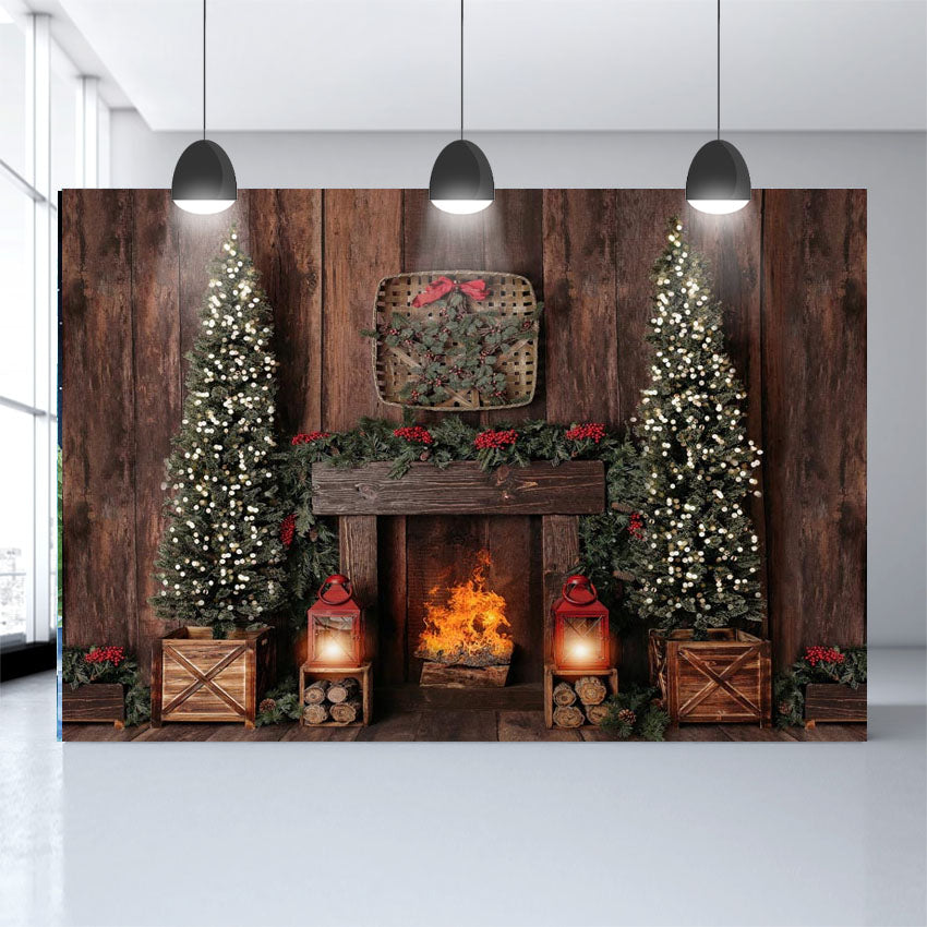 Wood Background Christmas Trees Decoration Fireplace Photography Backdrop NB-478