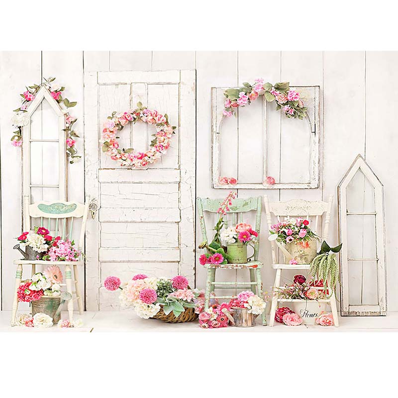 Wood Window Door Background Flower Chair Room Decoration Photography Backdrop NN-2