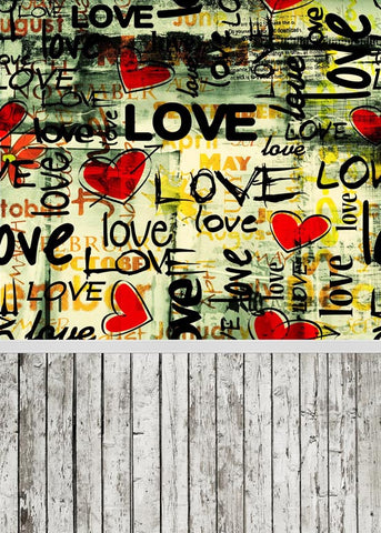Love Red Heart Valentine's Day Wood Floor Photo Studio Backdrop LV-1138