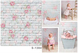 Brick Flower Wall Backdrop for Baby Photography