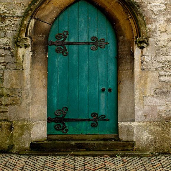 Old Green Door Stone Wall Photo Backdrops S-2642