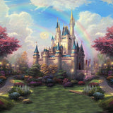 Castle Backdrops Garden Backdrops Colorful Backgrounds S-2716