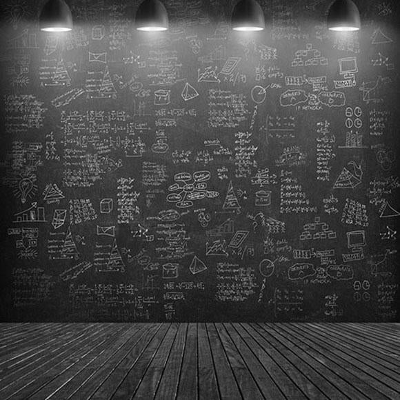 Chalk Chalkboard Lights Photo Booth Backdrop S-2913