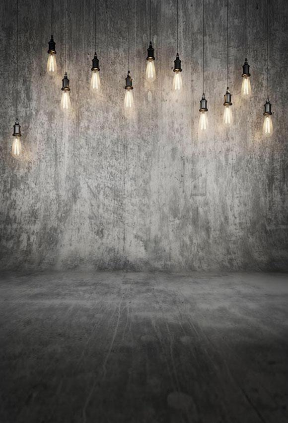 Grey Grunge Wall with Lights Backdrop for Photo Shoot S-2915
