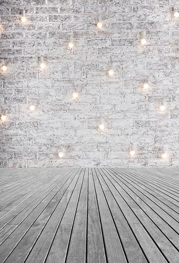 Old White Brick Wall Lights Photography Backdrop