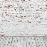 Retro White Brick Wall Photo Studio Backdrop S-2968