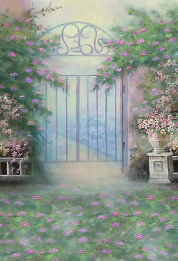 Gate Spring Flower Painting Photography Backdrop S-2977