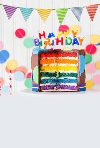 Birthday Background Cake Backdrops Colorful Backdrop S-3026
