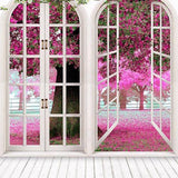 White Window Pink Flowers Tree Scennery Backdrops for Photo Studio S-3048