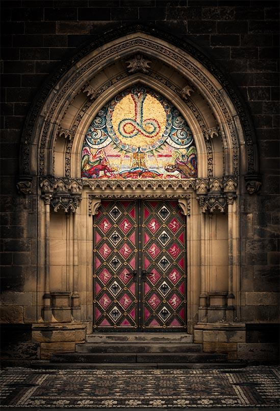 Castle Door Medieval Backdrops Vintage Middle Age Backgrounds S-3058