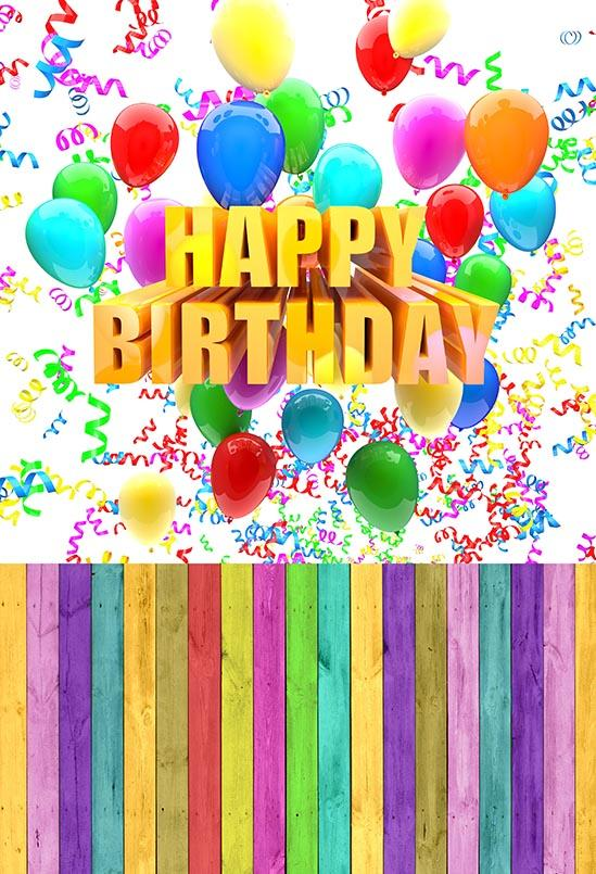Birthday Party Background Balloons Backdrop Colorful Backdrop S-3061