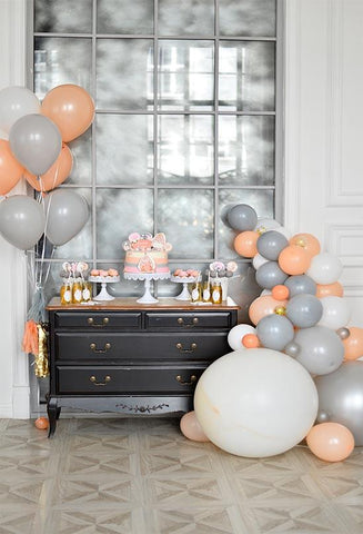 Birthday Party Background Balloons Backdrop Grey Backdrops S-3085