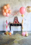 Birthday Party Background Balloons Backdrop Orange Backdrop S-3087