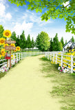 Happy Farm Sunflower Garden View Photography Backdrop S-3104