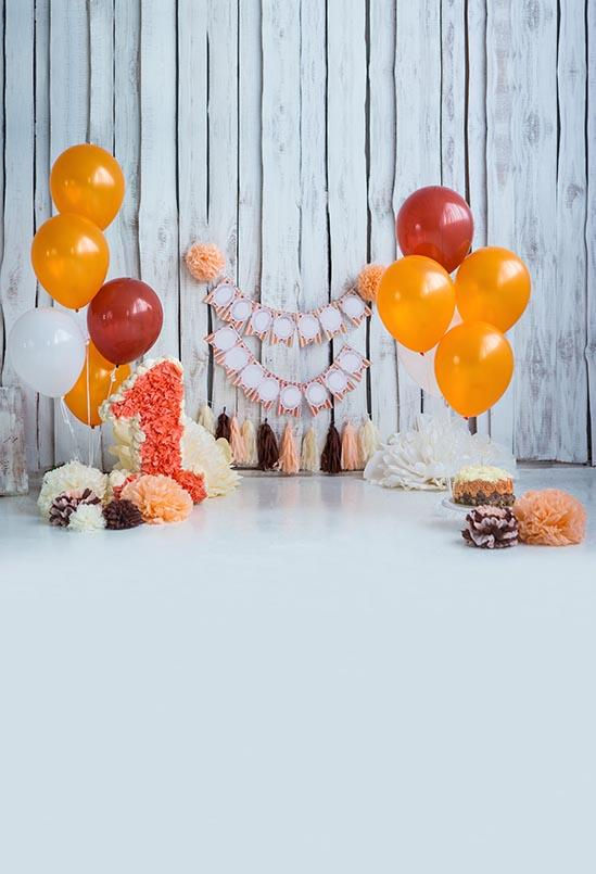 Birthday Party Backdrops Balloon Backdrops Orange Background S-3139