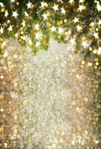 Bokeh Christams Tree Snowflake Stars Backdrop for Studio S-3180