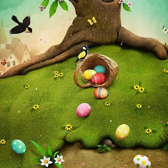 Colorful Easter Eggs Green Grass Spring Photo Backdrop S-3185