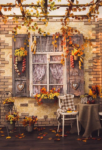 Scenic Backdrops Window Backdrops Autumn Background Leaves S-3201