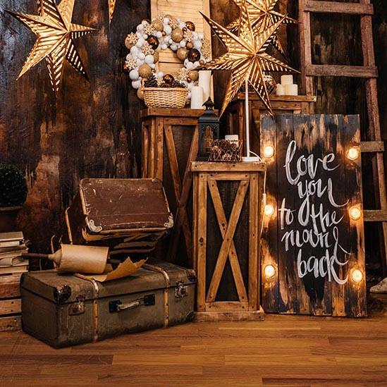 Christmas and New Year Decorated Room with Gifts Backdrop S-3245