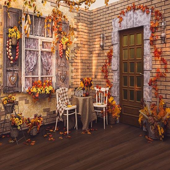 Autumn Yellow Leaves House Backdrops for Photo  S-3246