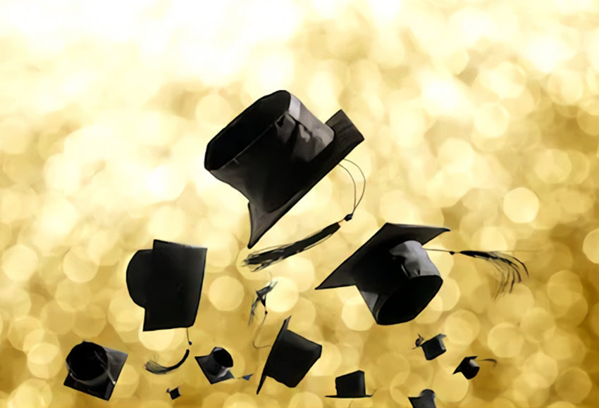Gold Graduation Party Trencher Cap Photography Backdrop SH-258
