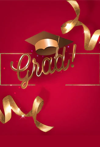Red Graduation Backdrop School Party Banner for Photo Booth  SH-268