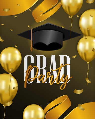 Graduation Party Gold and Black Backdrop for Photo Booth  SH-275