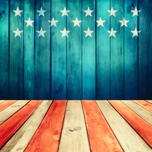 Independence Day Vintage Wood Photo Backdrop SH-282