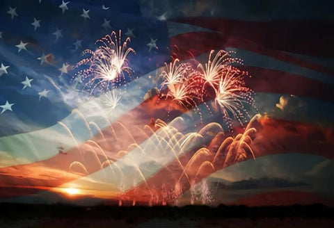 USA Flag Celebratory Fireworks Independence Day Backdrop SH285