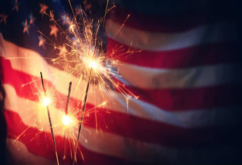 American Flag Fireworks 4th of July Photo Booth Backdrop SH307