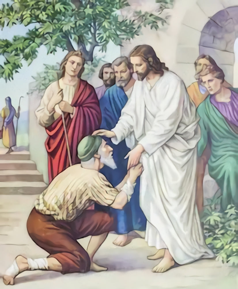 Religious Backdrop Jesus heals the blind man Background  SH319